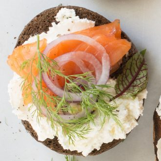 Smoked Salmon & Goat Cheese Flagel