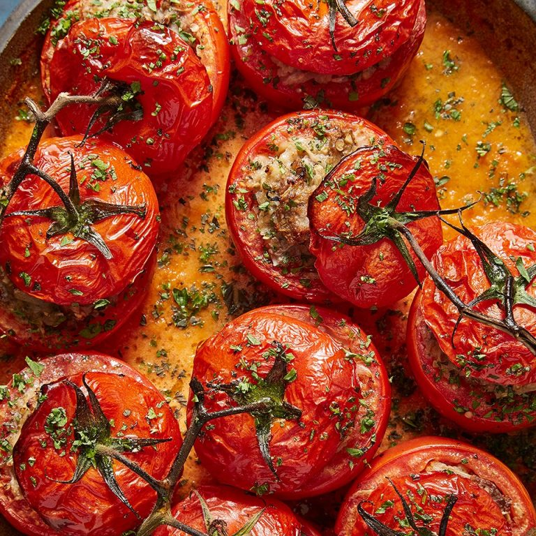 Tomato Dolma with Roasted Eggplant